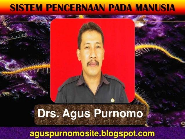 SISTEM PENCERNAAN PADA MANUSIA     Drs. Agus Purnomo   aguspurnomosite.blogspot.com