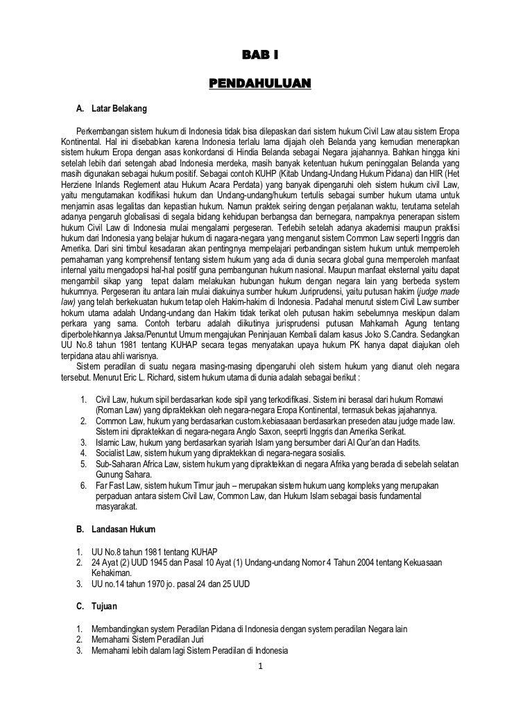 Perbedaan Sistem Peradilan Indonesia Dengan Sistem Peradilan