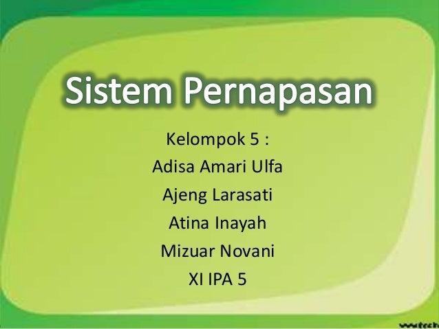 Kelompok 5 :Adisa Amari Ulfa Ajeng Larasati  Atina Inayah Mizuar Novani     XI IPA 5