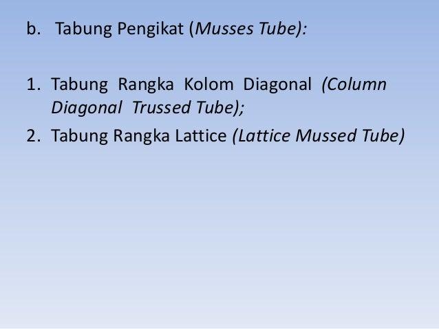 b. Tabung Pengikat (Musses Tube): 1. Tabung Rangka Kolom Diagonal (Column Diagonal Trussed Tube); 2. Tabung Rangka Lattice...
