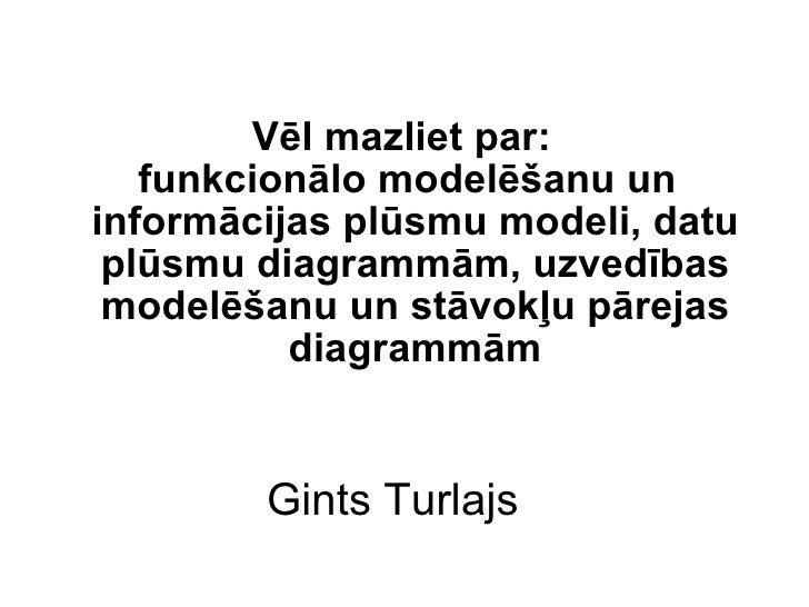 Gints Turlajs Vēl mazliet par: funkcionālo modelēšanu un informācijas plūsmu modeli, datu plūsmu diagrammām, uzvedības mod...