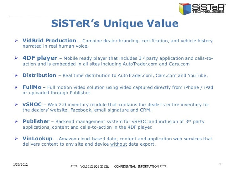 SiSTeR's Unique Value VidBrid Production – Combine dealer branding, certification, and vehicle history     narrated in re...