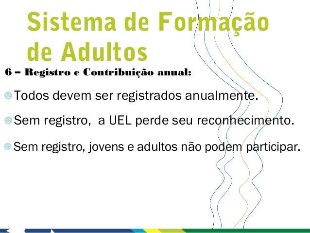 Sistema de Formação    de Adultos6 – Registro e Contribuição anual:☻Todos devem ser registrados anualmente.☻Sem registro, ...