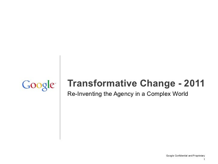 Re-Inventing the Agency in a Complex World Transformative Change - 2011