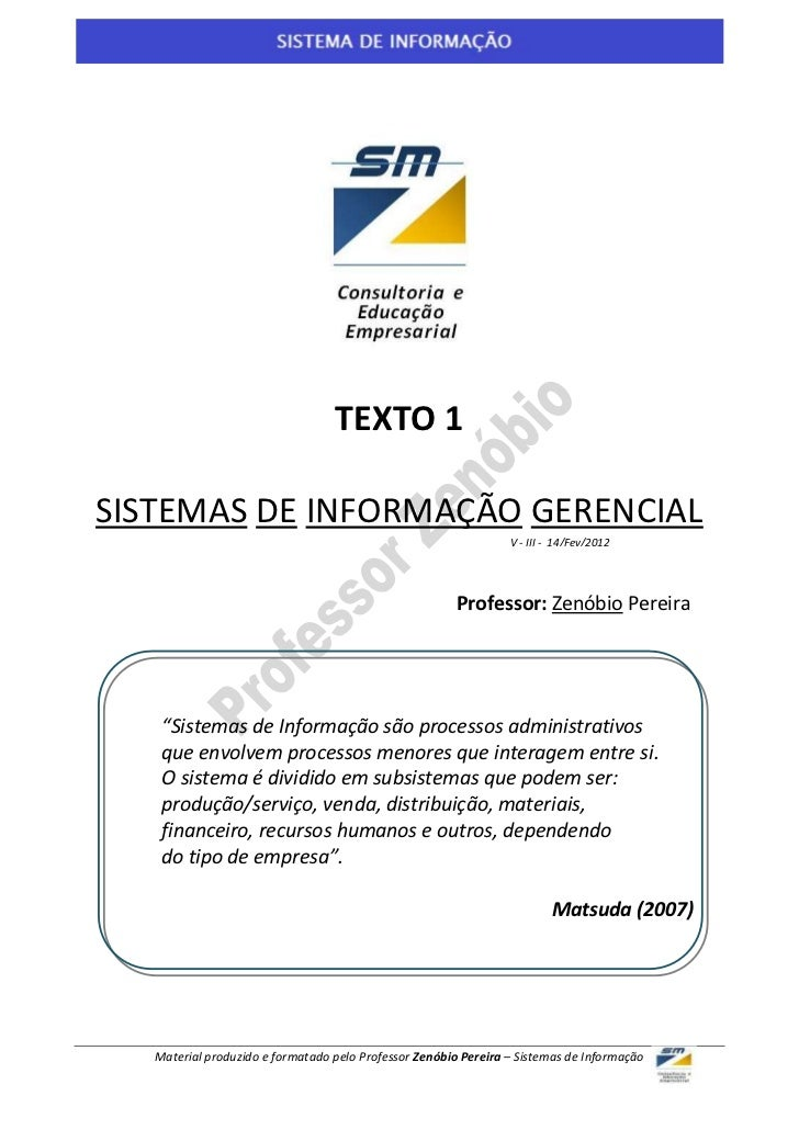 1                                  TEXTO 1SISTEMAS DE INFORMAÇÃO GERENCIAL                                                ...