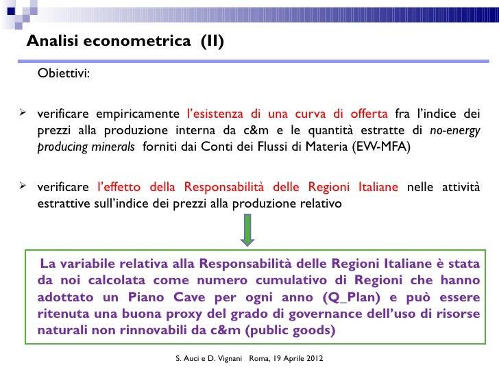 Analisi econometrica (II)    Obiettivi:   verificare empiricamente l'esistenza di una curva di offerta fra l'indice dei  ...