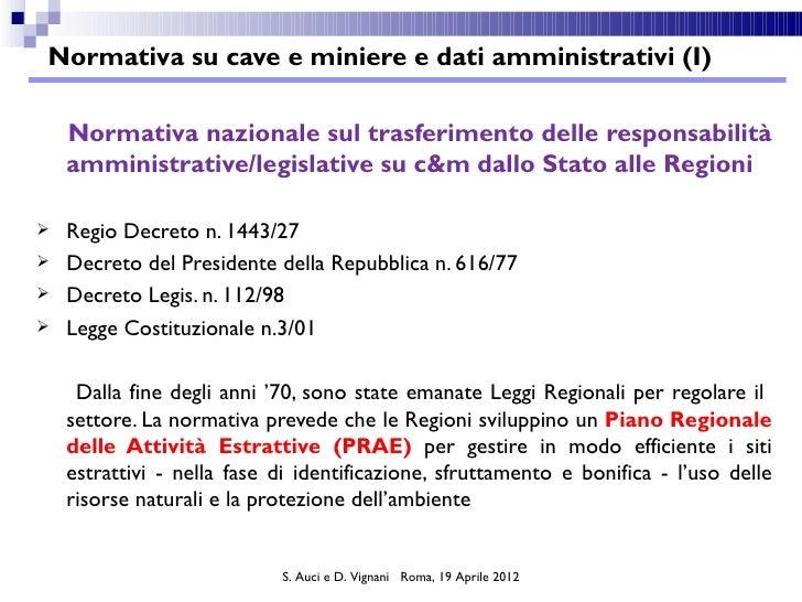 Normativa su cave e miniere e dati amministrativi (I)    Normativa nazionale sul trasferimento delle responsabilità    amm...