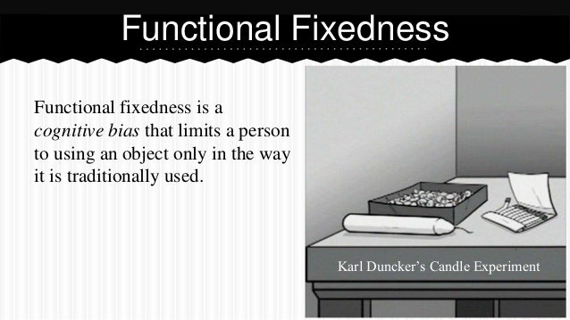 Functional fixedness is a cognitive bias that limits a person to using an object only in the way it is traditionally used....