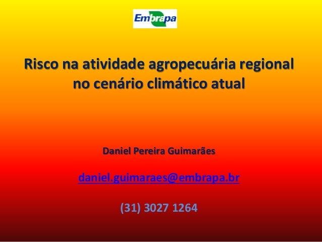 Risco na atividade agropecuária regional no cenário climático atual Daniel Pereira Guimarães daniel.guimaraes@embrapa.br (...