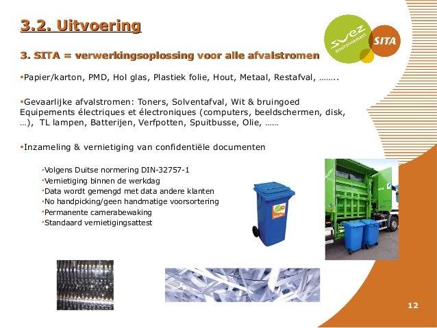 3.2. Uitvoering 3. SITA = verwerkingsoplossing voor alle afvalstromen •Papier/karton, PMD, Hol glas, Plastiek folie, Hout,...