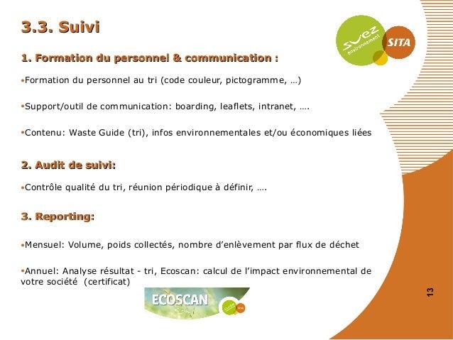 3.3. Suivi 1. Formation du personnel & communication : •Formation du personnel au tri (code couleur, pictogramme, …) •Supp...