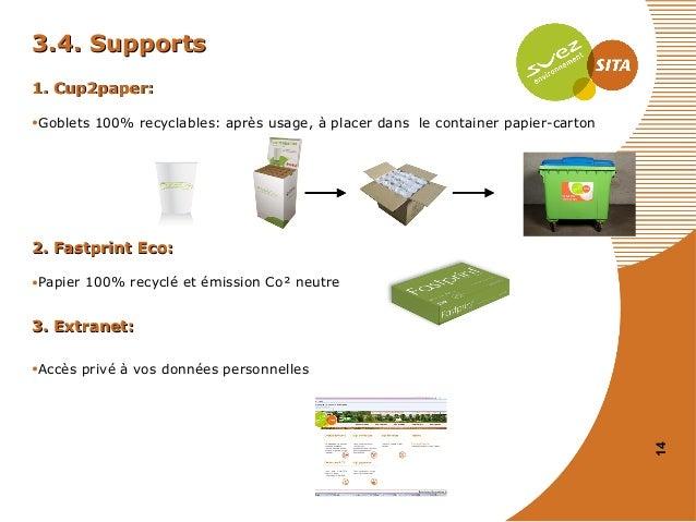 3.4. Supports 1. Cup2paper: •Goblets 100% recyclables: après usage, à placer dans le container papier-carton  2. Fastprint...