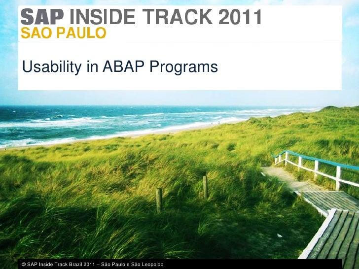 Usability in ABAP Programs<br />