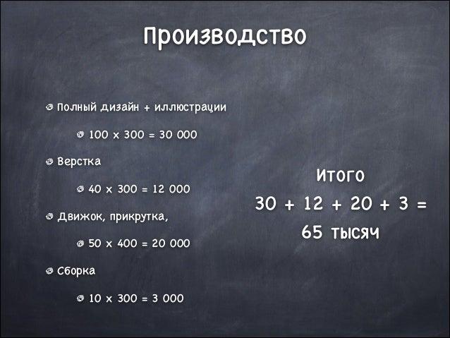 Производство Полный дизайн + иллюстрации  100 x 300 = 30 000  Верстка  40 x 300 = 12 000  Движок, прикрутка,   50 x 400 = ...