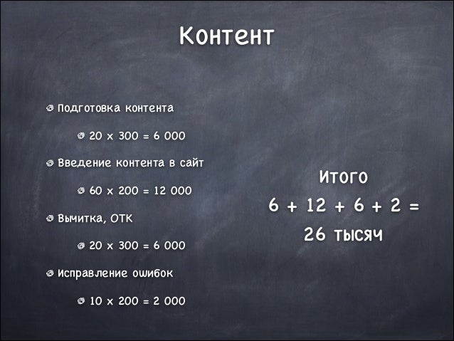 Контент Подготовка контента  20 x 300 = 6 000  Введение контента в сайт  60 x 200 = 12 000  Вычитка, ОТК   20 x 300 = 6 00...