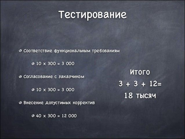 Тестирование Соответствие функциональным требованиям  10 x 300 = 3 000  Согласование с заказчиком  10 x 300 = 3 000  Внесе...