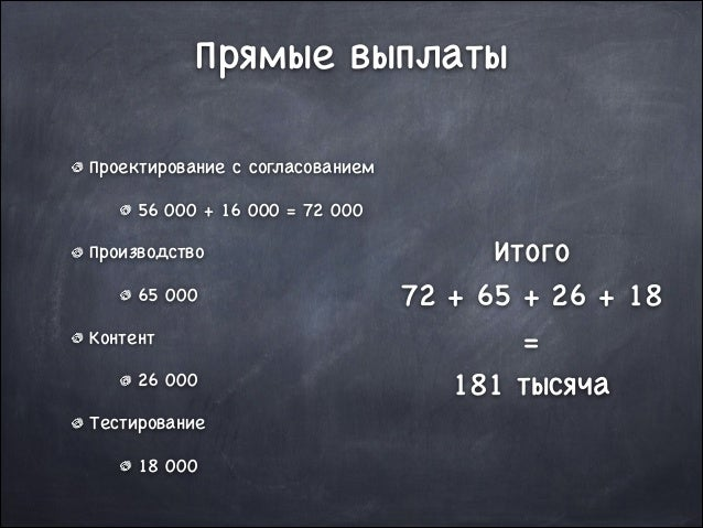 Прямые выплаты Проектирование с согласованием  56 000 + 16 000 = 72 000  Производство  65 000  Контент  26 000  Тестирован...