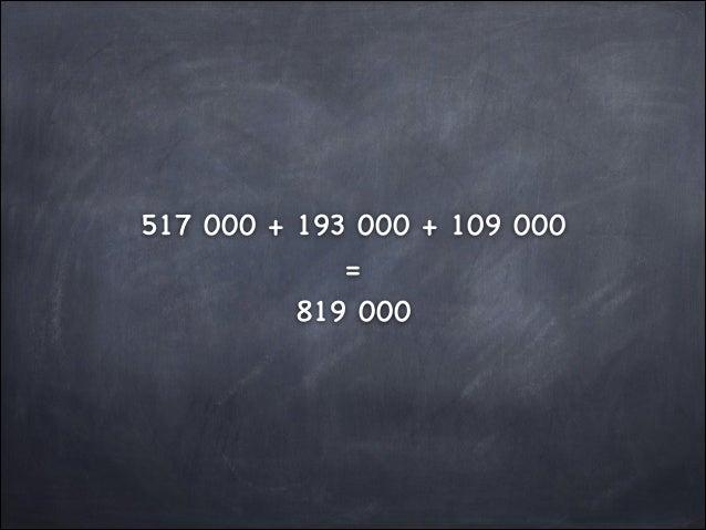 517 000 + 193 000 + 109 000  =  819 000