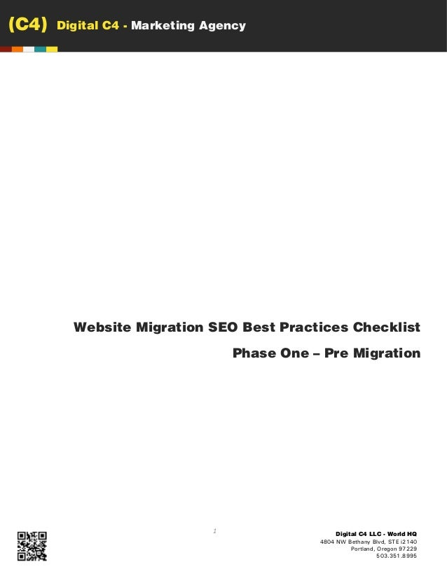 (C4)   Digital C4 - Marketing Agency         Website Migration SEO Best Practices Checklist                               ...