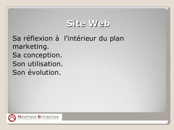 <ul>Site Web </ul><ul><li>Sa réflexion à  l'intérieur du plan marketing.