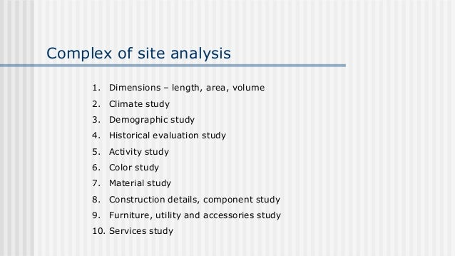 18 Complex Of Site Analysis
