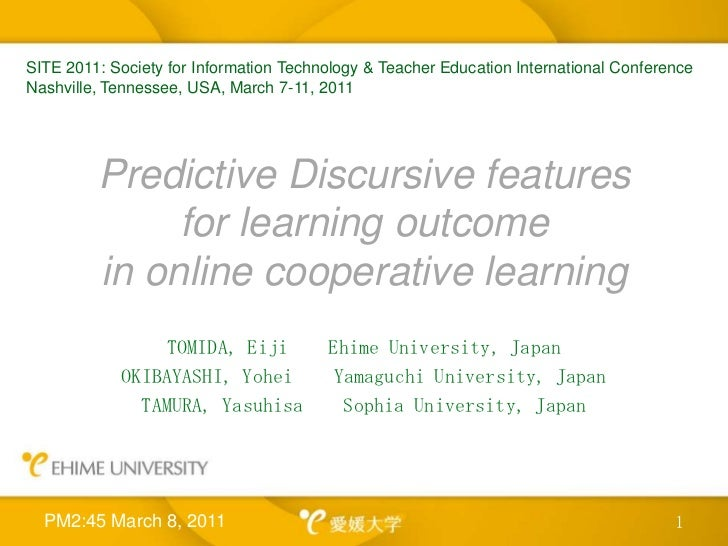 Predictive Discursive features for learning outcome in online cooperative learning<br />TOMIDA, Eiji    Ehime University, ...