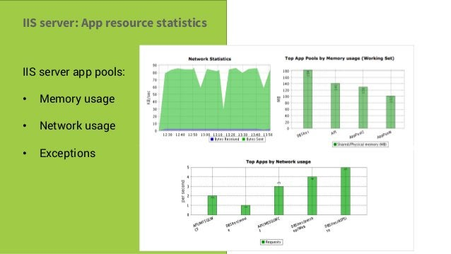 Savvy Tech Users IIS server: App resource statistics IIS server app pools: • Memory usage • Network usage • Exceptions