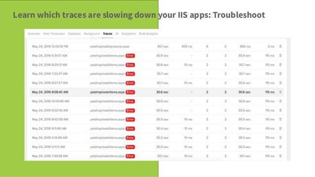 Savvy Tech Users Learn which traces are slowing down your IIS apps: Troubleshoot