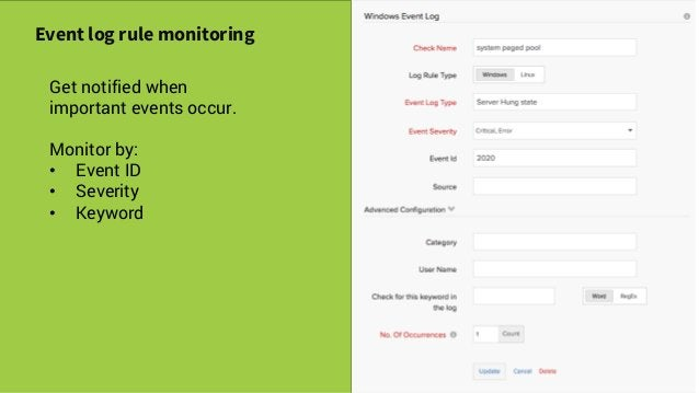 Savvy Tech Users Event log rule monitoring Get notified when important events occur. Monitor by: • Event ID • Severity • K...