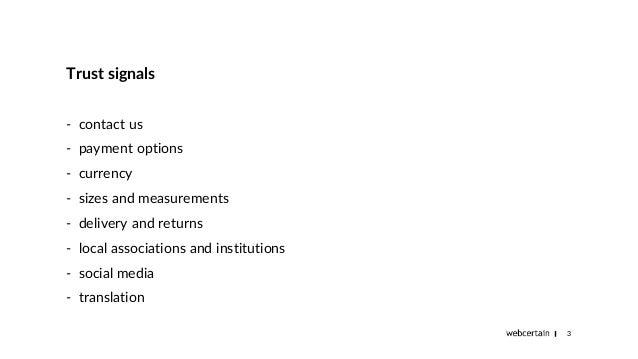 Site adaptation for foreign markets - trust signals. Zanna Pupele, Brighton SEO,  Sept 2018 presentation Slide 3