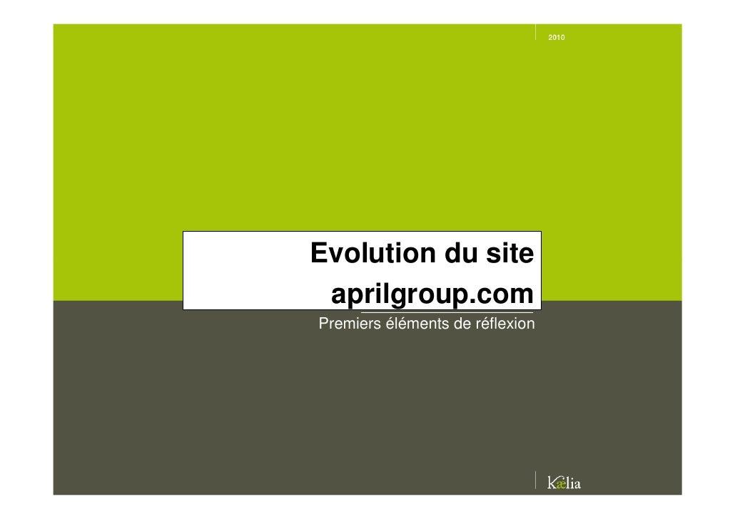 Evolution du site  aprilgroup.com Premiers éléments de réflexion