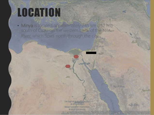 LOCATION • Minya is located approximately 245 km (152 mi) south of Cairo on the western bank of the Nile River, which flow...
