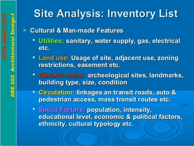 SITEANALYSIS ARE202ArchitecturalDesign-I Site Analysis: Inventory ListSite Analysis: Inventory List  Cultural & Man-made ...