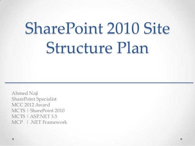 SharePoint 2010 Site       Structure PlanAhmed NajiSharePoint SpecialistMCC 2012 AwardMCTS   SharePoint 2010MCTS   ASP.NET...