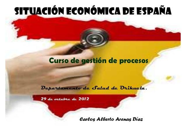 SITUACIÓN ECONÓMICA DE ESPAÑA       Curso de gestión de procesos    Departamento de Salud de Orihuela.    29 de octubre de...