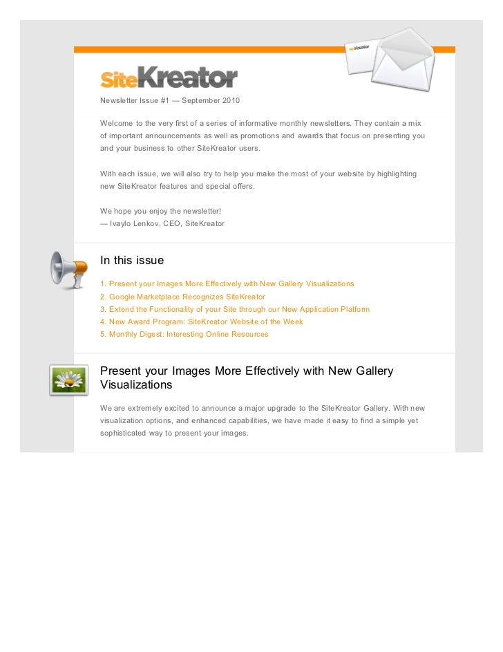 Newsletter Issue #1 — September 2010Welcome to the very first of a series of informative monthly newsletters. They contain...