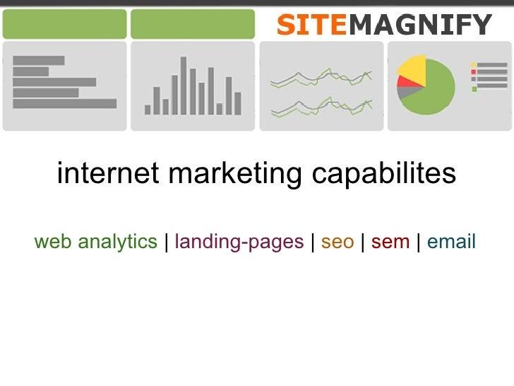 internet marketing capabilites web analytics    landing-pages     seo     sem     email