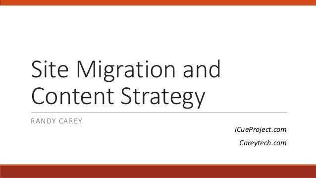 Site Migration and Content Strategy RANDY CAREY iCueProject.com Careytech.com