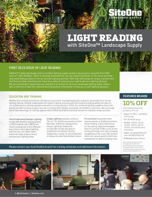 Outdoor Lighting Supply Siteone landscape lighting newsletter first 2016 issue of light reading siteone landscape supply and our outdoor lighting supply partners workwithnaturefo