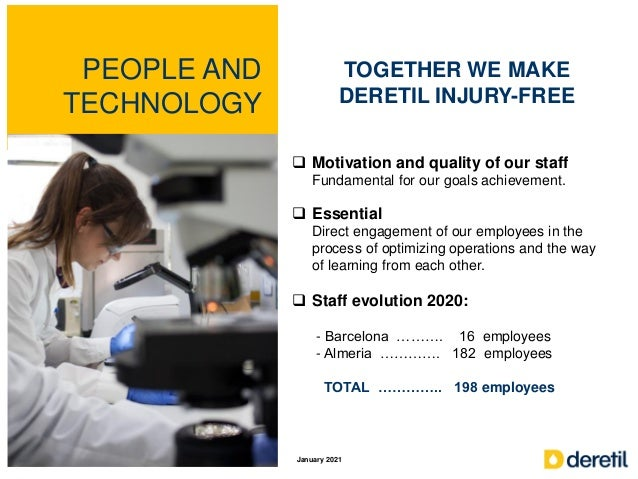 PEOPLE AND TECHNOLOGY TOGETHER WE MAKE DERETIL INJURY-FREE  Motivation and quality of our staff Fundamental for our goals...
