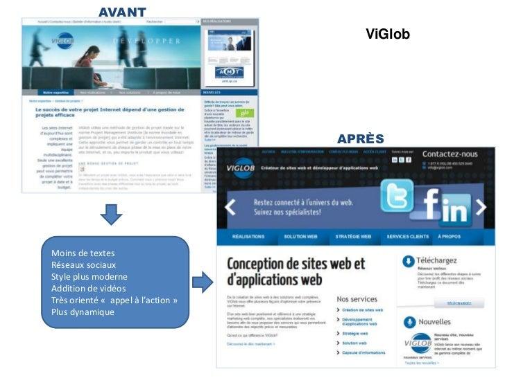 AVANT<br />ViGlob<br />APRÈS<br />Moins de textes<br />Réseaux sociaux<br />Style plus moderne<br />Addition de vidéos<br ...