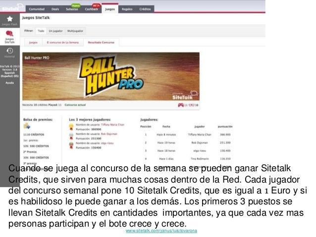 Cuando se juega al concurso de la semana se pueden ganar Sitetalk Credits, que sirven para muchas cosas dentro de la Red. ...