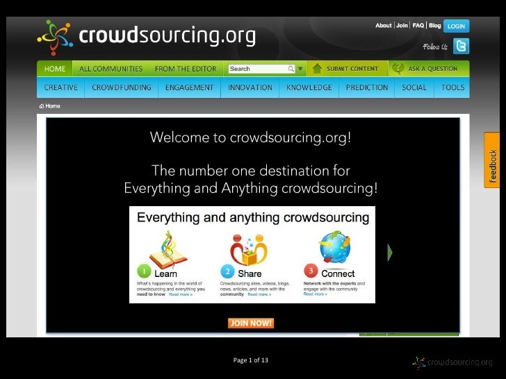 Welcome to crowdsourcing.org!The number one destination forEverything and Anything crowdsourcing!<br />Page 1 of 13<br />