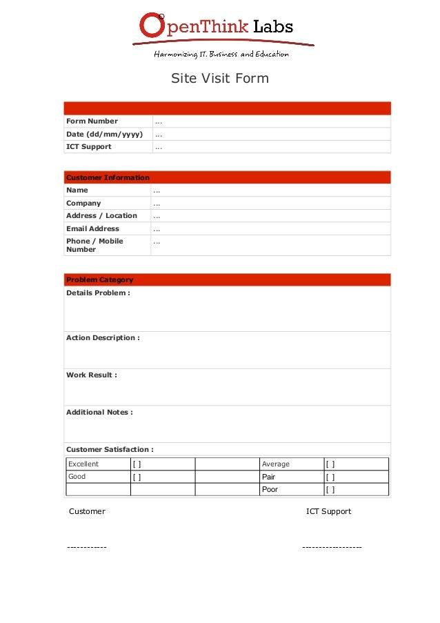 Nice Site Visit Form Form Number ... Date (dd/mm/yyyy) Regarding Customer Form Template