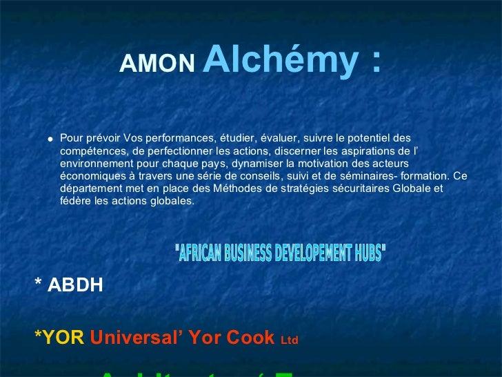 AMON Alchémy                                       :  Pour prévoir Vos performances, étudier, évaluer, suivre le potentiel...