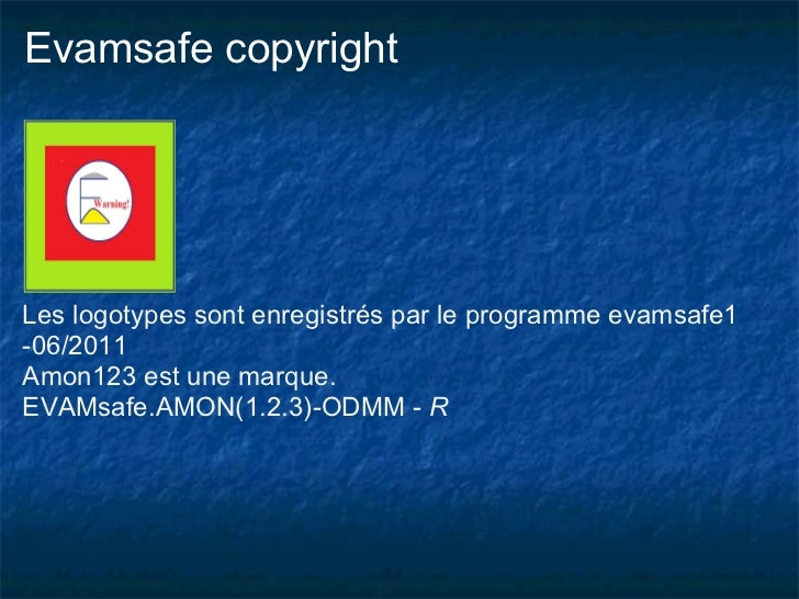 Evamsafe copyrightLes logotypes sont enregistrés par le programme evamsafe1-06/2011Amon123 est une marque.EVAMsafe.AMON(1....