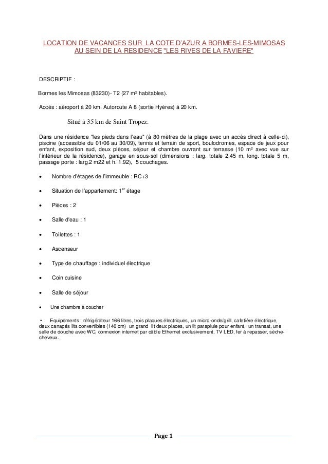 """Page 1  LOCATION DE VACANCES SUR LA COTE D'AZUR A BORMES-LES-MIMOSAS AU SEIN DE LA RESIDENCE """"LES RIVES DE LA FAVIERE""""  DE..."""