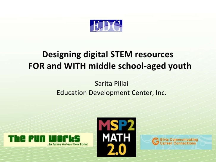 Designing digital STEM resources  FOR and WITH middle school-aged youth Sarita Pillai Education Development Center, Inc.