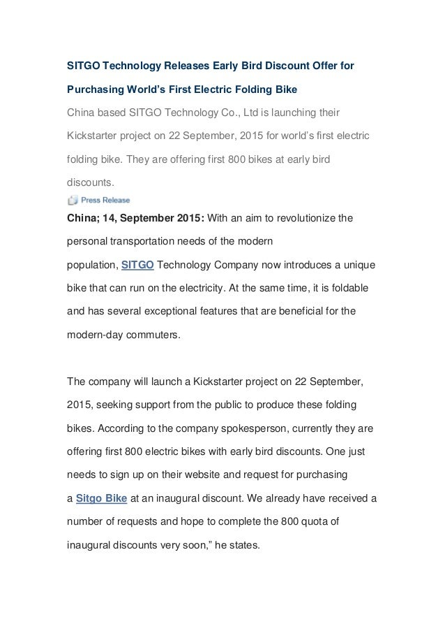 SITGO Technology Releases Early Bird Discount Offer for Purchasing World's First Electric Folding Bike China based SITGO T...