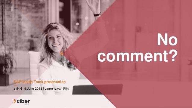 No comment? sitHH | 9 June 2018 | Laurens van Rijn SAP Inside Track presentation